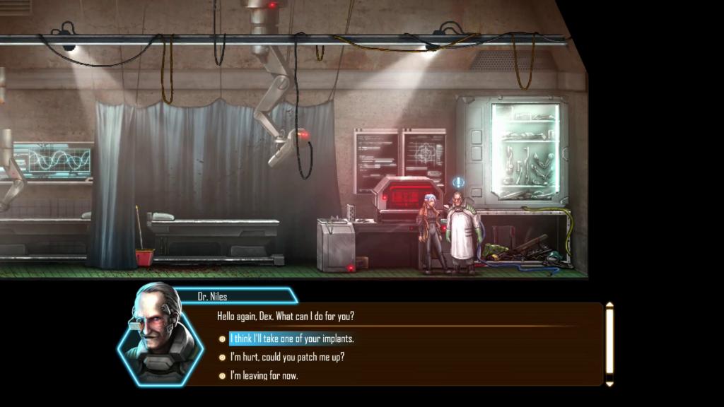 Dependendo da resposta associada ao nível de carisma de Dex resultará em soluções diferentes, aumentando o replay do jogo. (Imagem: Divulgação.)