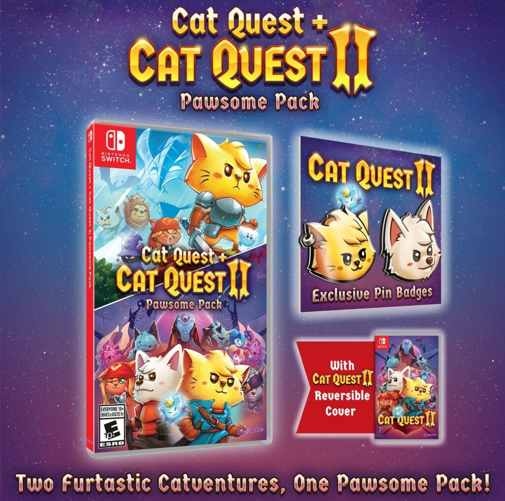 Cat Quest + Cat Quest II: Pawsome Pack terá pins como brinde e capa reversível. (Imagem: Divulgação.)