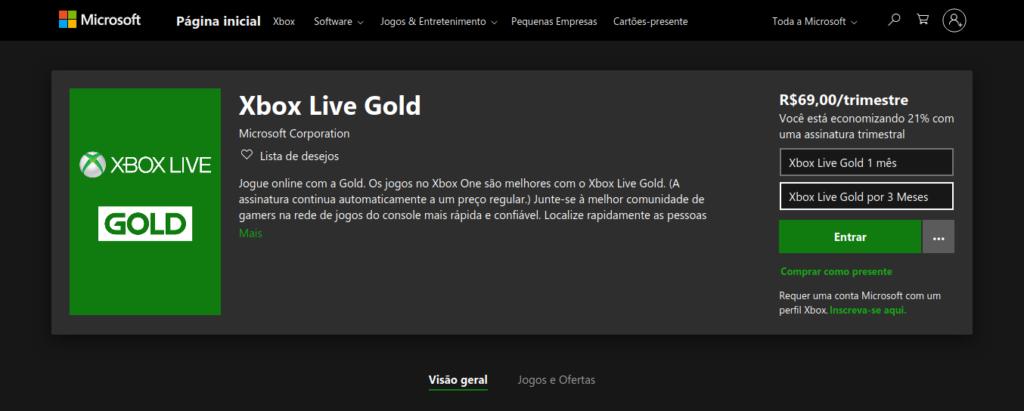 Microsoft retira assinatura anual de Xbox Live Gold também da loja brasileira. [Imagem: Reprodução.]