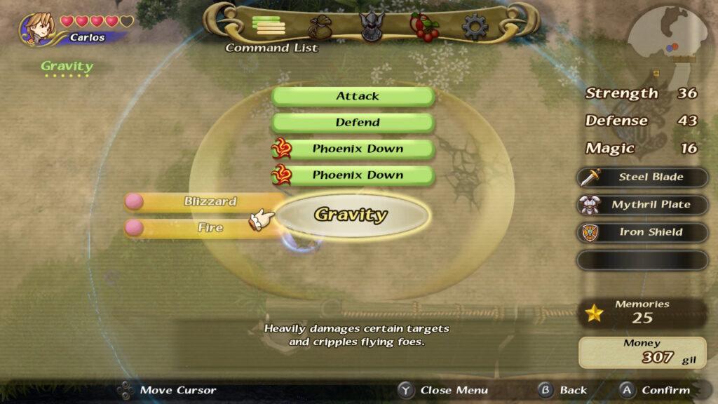 Combine as diferentes magias para obter novas habilidades, como Gravity, que força o pouso de monstros voadores. (Imagem: Reprodução.)