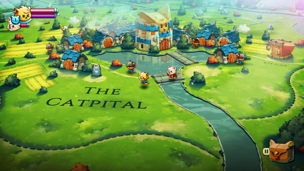 Em Cat Quest II, o mundo onde acontece a ação é, de fato, o mapa. (Imagem: Divulgação.)