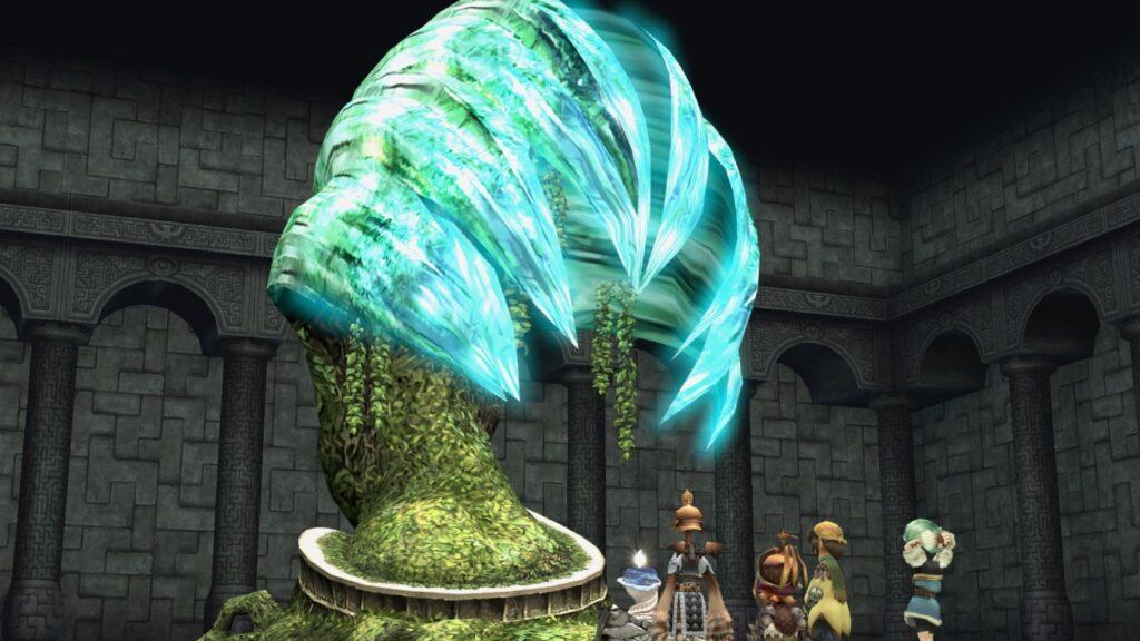 Embarque em uma caravana com o objetivo de colher gotas de mirra em Final Fantasy Crystal Chronicles Remastered Edition; (Imagem: Divulgação.)