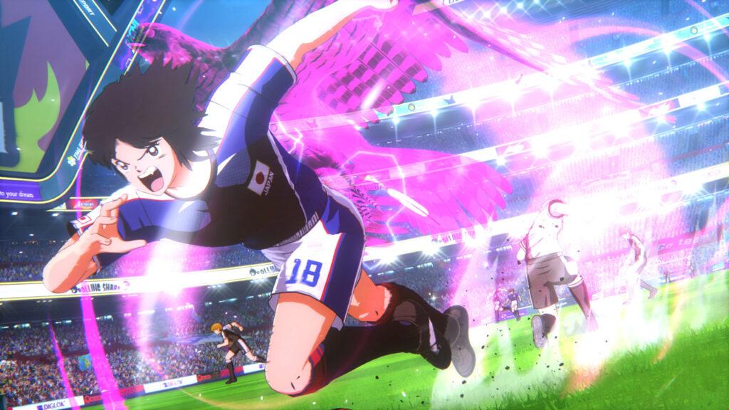 Faça jogadas incríveis no ataque, tanto quanto na defesa, em Captain Tsubasa: Rise of New Champions. (Imagem: Divulgação)