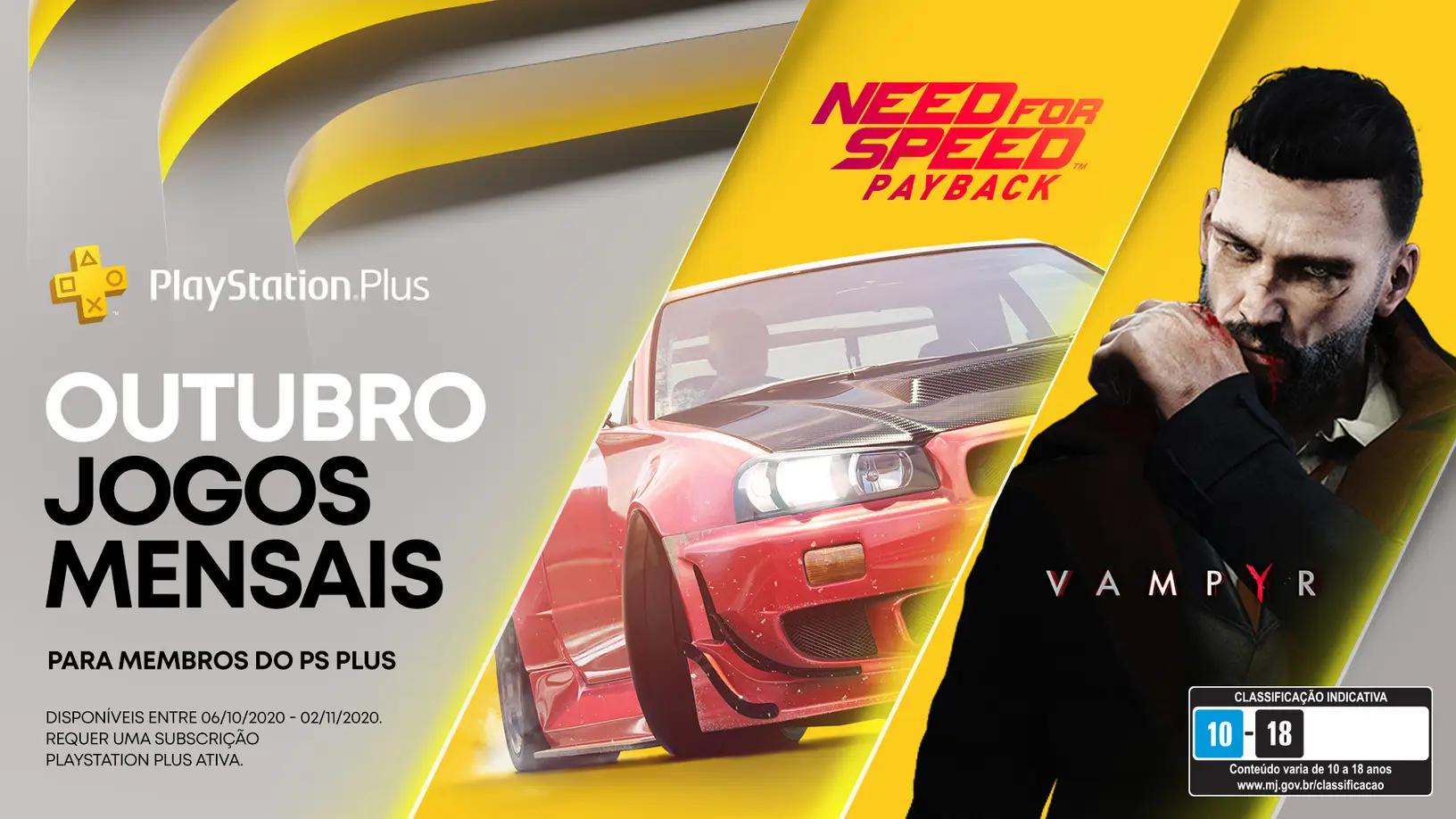 Jogos: PS Plus de outubro traz Need for Speed: Payback e Vampyr