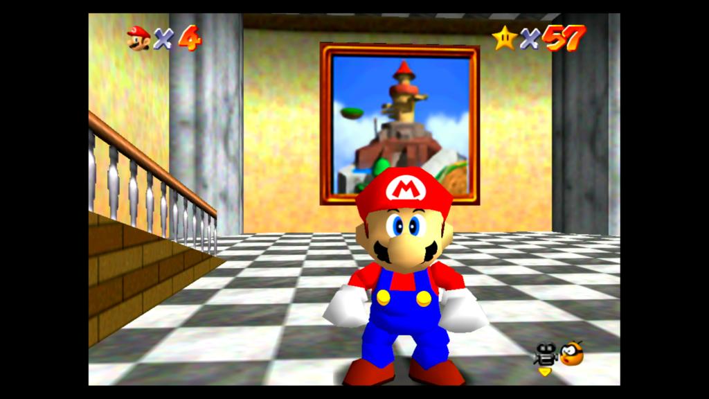 Os jogos são os mesmos em Super Mario 3D All-Stars, mas as texturas estão melhores, como a letra M do chapéu de Mario e as imagens nos quadros. (Imagem: Reprodução)