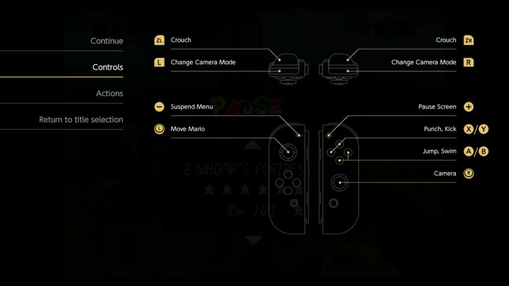 Super Mario 3D All-Stars oferece controles para cada jogo e explica como executar as ações de Mario. (Imagem: Reprodução)