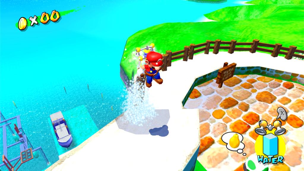 Em cada fase é possível ver outras partes da Ilha Delfino em Super Mario Sunshine. (Imagem: Reprodução)