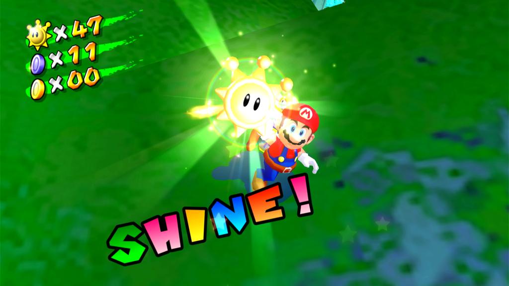 Procure 120 Shines (em vez de estrelas) em Super Mario Sunshine. (Imagem: Reprodução)