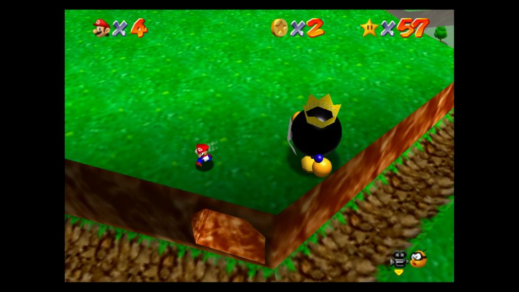 A emulação em Super Mario 3D All-Stars entrega alguns detalhes de baixa qualidade graças à potência do Switch, como o modelo de Mario quando distante. (Imagem: Reprodução)