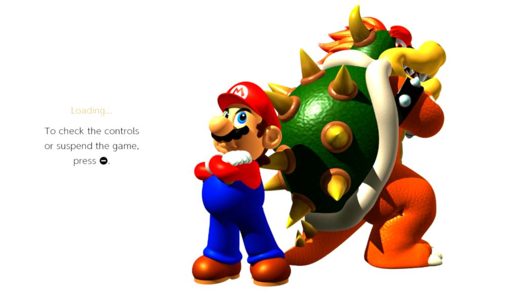 Ao lançar um dos jogos em Super Mario 3D All-Stars, uma arte do manual salta à tela durante o carregamento - como esta de Super Mario 64. (Imagem: Reprodução)