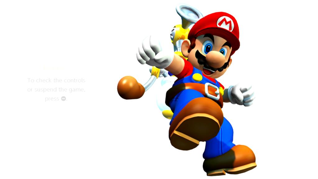 Mario tem a bomba de água FLUDD equipada durante a maior parte da aventura em Super Mario Sunshine. (Imagem: Reprodução)