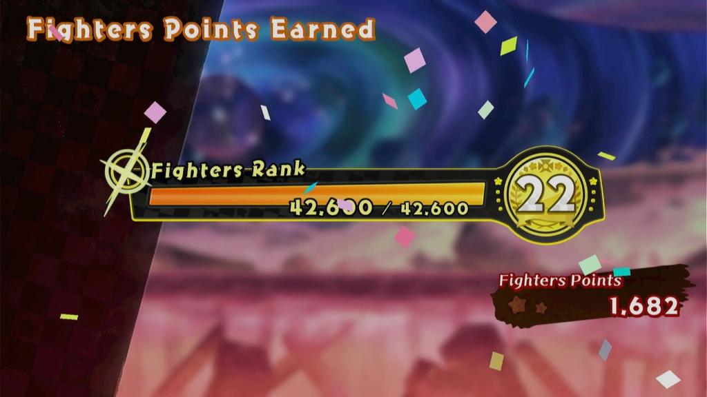 A classificação (Fighters Ranking) libera personagens, cenários e itens da história. É fácil progredir rapidamente. (Imagem: Reprodução)