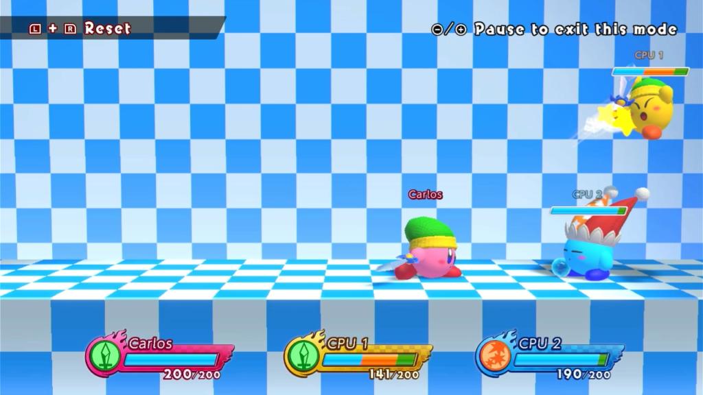 """Para um título """"compacto"""", Kirby Fighters 2 oferece muitas opções, inclusive um modo treino. (Imagem: Reprodução)"""