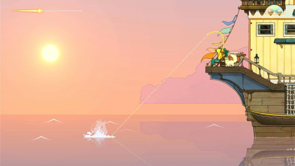 A linha no canto superior indica o percurso da viagem marcada. À noite, seu barco para para os espíritos dormirem tranquilos. (Imagem: Reprodução)