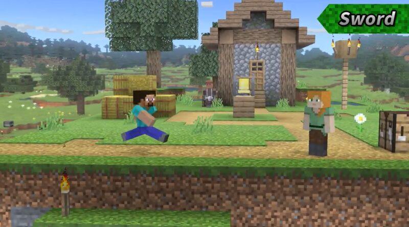 Steve, de Minecraft, agora é um dos lutadores em Super Smash Bros. Ultimate. (Imagem: Divulgação)