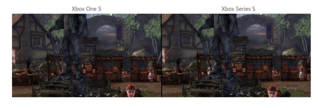 Comparação de resolução e filtragem anisotrópica em Fable Anniversary, para Xbox 360, entre Xbox One S e Xbox Series X. (Imagem: Divulgação)