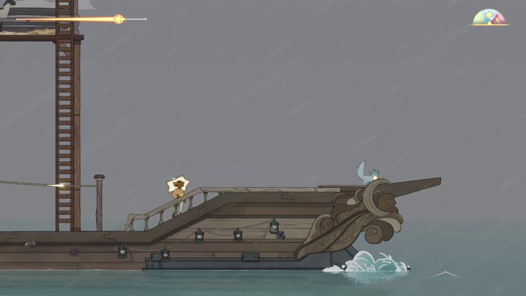 Encontre ou compre melhorias para seu barco e para seu personagem - no melhor estilo metroidvania - para alcançar novas partes do mapa. (Imagem: Reprodução)
