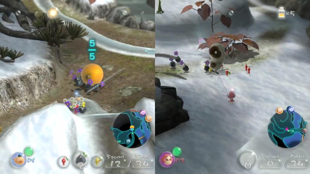 Pikmin 3 Delue permite jogar a campanha em cooperação com outra pessoa... (Imagem: Reprodução)