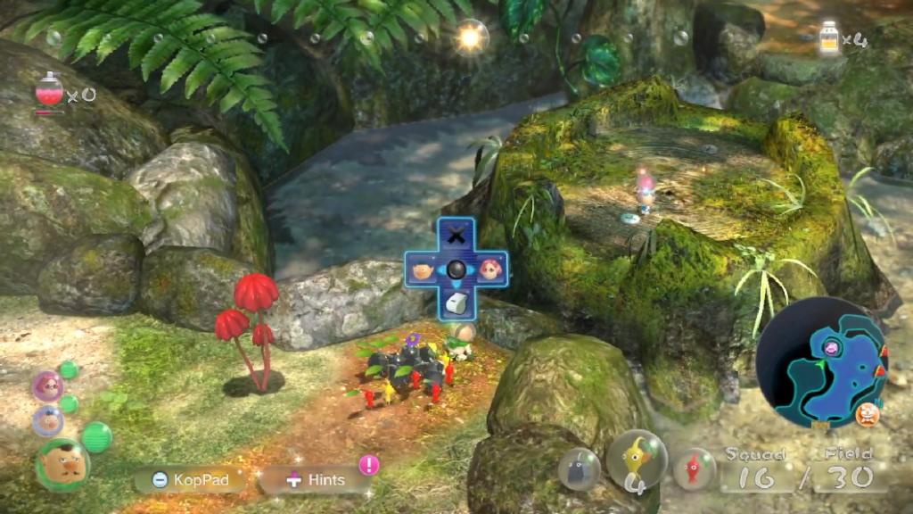 Em Pikmin 3 Deluxe, novas áreas podem ser alcançadas depois de reunir a tripulação. (Imagem: Reprodução)
