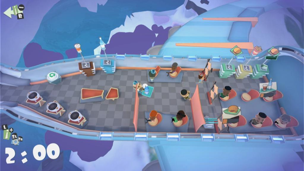 É imperativo jogar Shakes on a Plane com amigos. Acima, uma partida de um jogador, cuja missão é controlar dois personagens alternadamente. (Imagem: Reprodução)