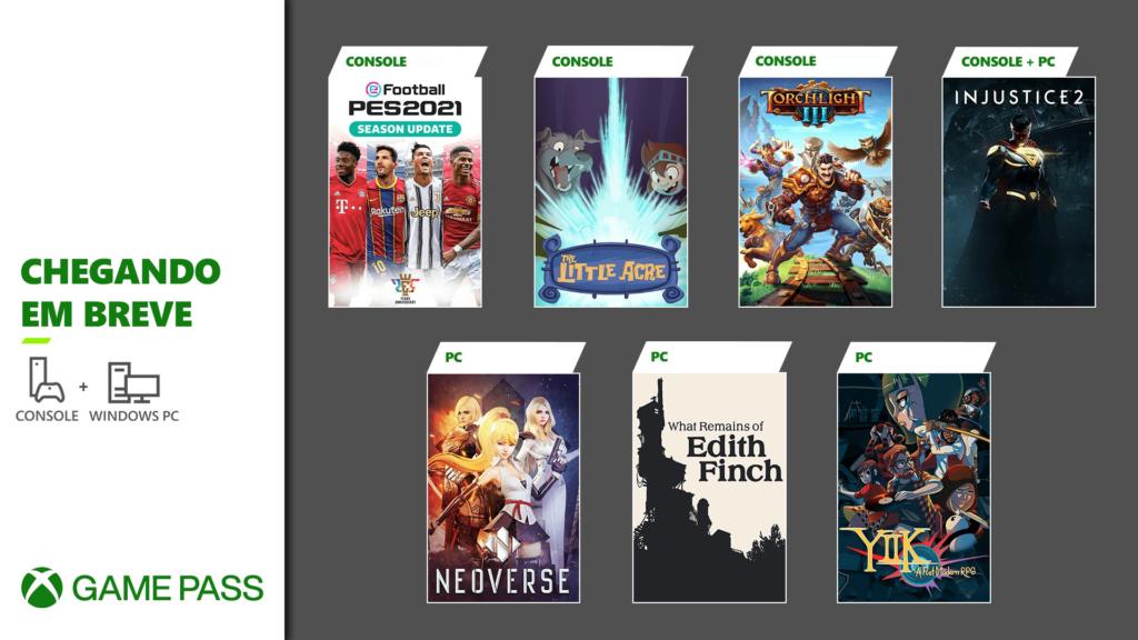Xbox Game Pass de janeiro traz a atualização para PES 2021, What Remains of Edith Filch e Injustice 2 entre os destaques. (Imagem: Divulgação)
