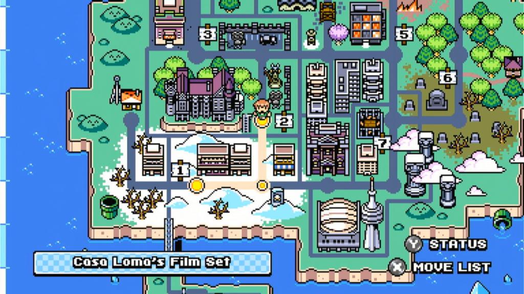 Scott Pilgrim vs. the World: The Game é cheio de referências, como este mapa-múndi, que lembra o mapa do jogo de um certo encanador italiano... (Imagem: Reprodução\Switch)