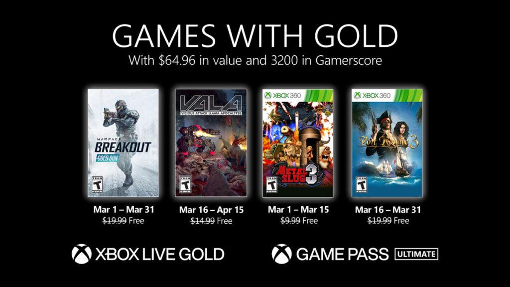 Games with Gold para março de 2021 terá quatro jogos novamente. (Imagem: Divulgação/Xbox Wire)