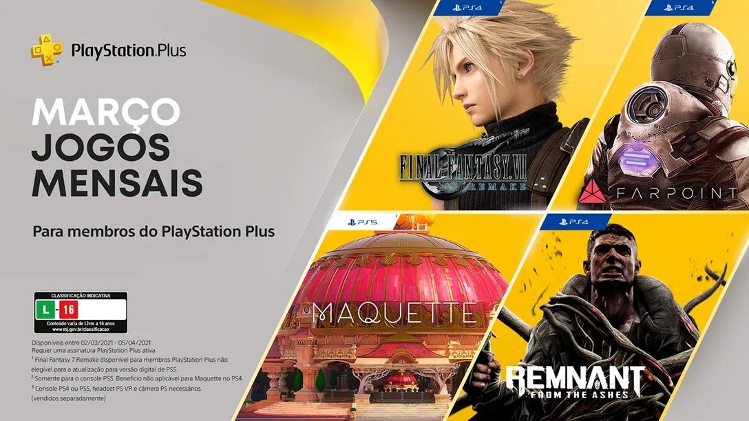 Jogos: PS Plus de março terá quatro jogos, incluindo Final Fantasy VII Remake