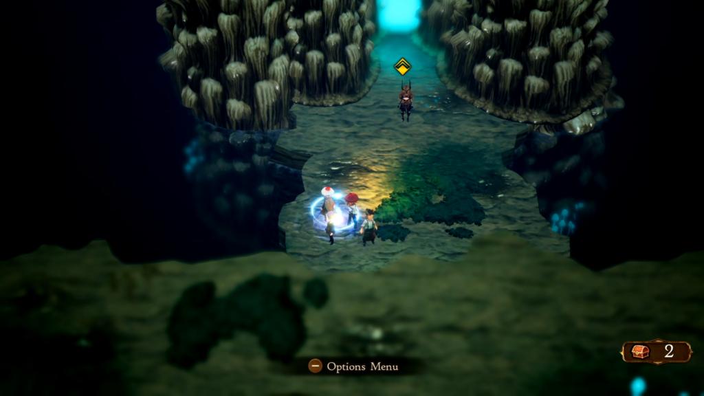 Marcadores que indicam objetivos podem ser desligados em Bravely Default II. (Imagem: Reprodução/Nintendo Switch)
