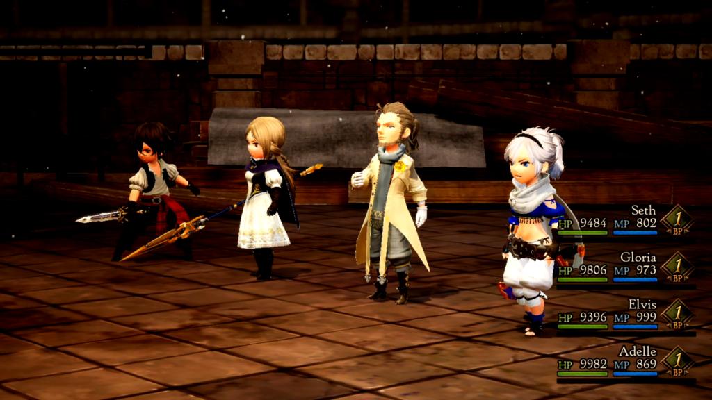 Seth, Gloria, Elvis e Adelle são os quatro Heróis da Luz em Bravely Default II. (Imagem: Reprodução/Nintendo Switch)