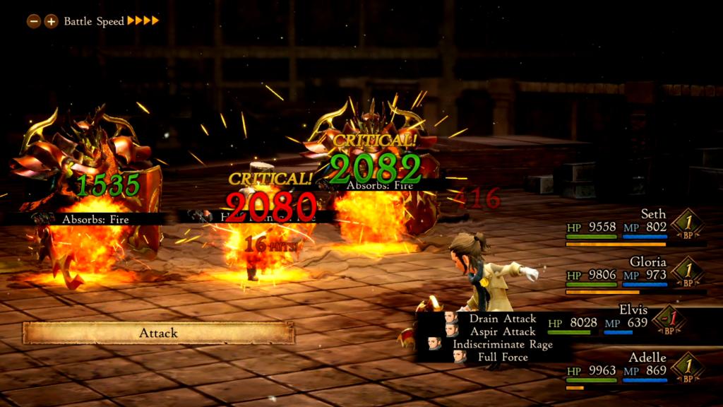 Ops! Ao aplicar a mesma magia a todos os inimigos, alguns tomaram dano, outros recuperaram energia! (Imagem: Reprodução/Nintendo Switch)