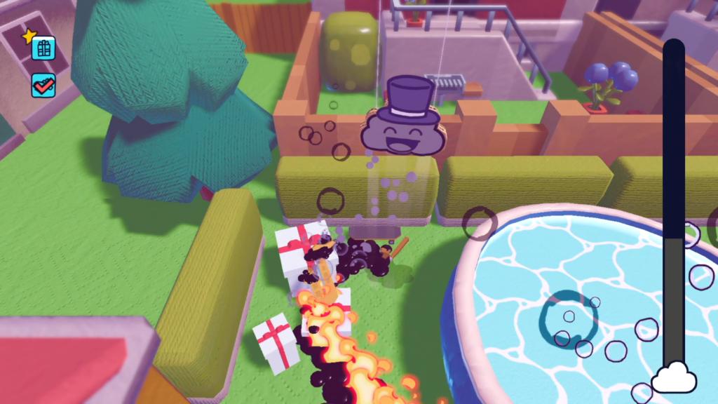 Troque a chuva de água por petróleo e incendeie as coisas com um raio! (Imagem: Reprodução/Nintendo Switch)