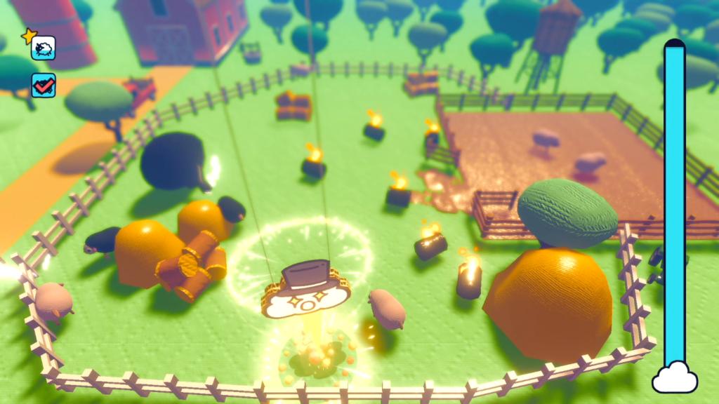 Raios assustam os seres vivos próximos ao local onde caem; mas não deixe a ovelha negra entrar no cercado! (Imagem: Reprodução/Nintendo Switch)