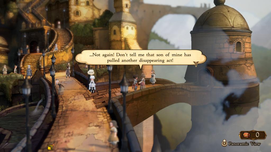 A clássica missão secundária de um moleque levado correndo perdido pela vila. (Imagem: Reprodução/Nintendo Switch)
