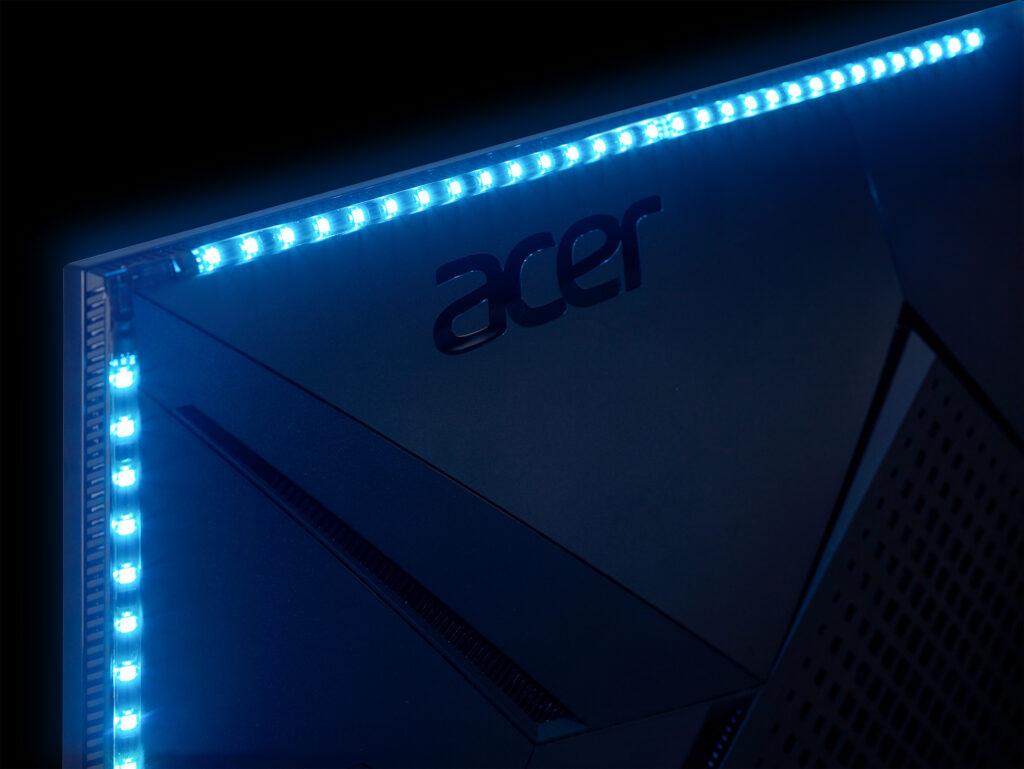 Predator CG437K S conta com faixas de iluminação RGB que podem ser sincronizadas com música e mídia. (Imagem: Divulgação/Acer)