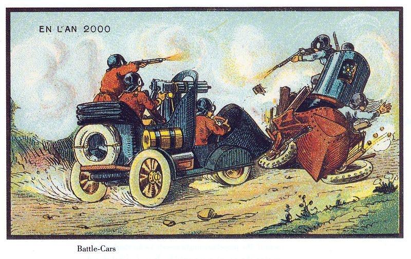 Artistas franceses do século 18 imaginaram esse Twisted Metal-like nos 2000s. (Imagem: Domínio Público/France in XXI Century. War cars)