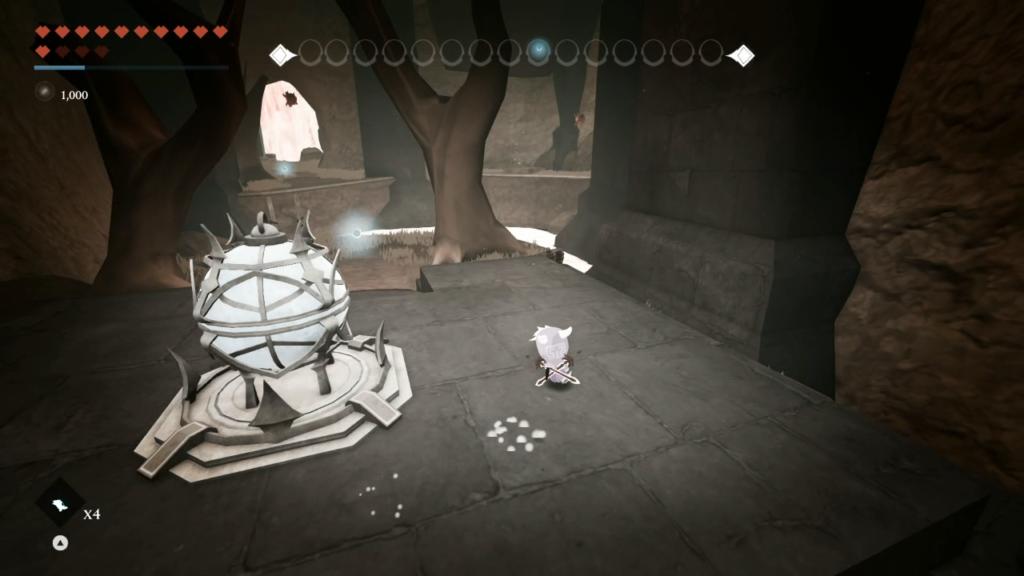Outra inspiração de Hollow Knight: recolher essência por toda uma região (sem morrer) com o Vessel of Souls. (Imagem: Reprodução/Nintendo Switch)