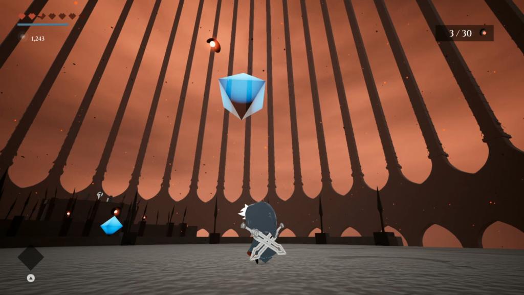 O jogo não explica, mas esses diamantes funcionam como os de Celeste: eles resetam saltos e investidas. (Imagem: Reprodução/Nintendo Switch)