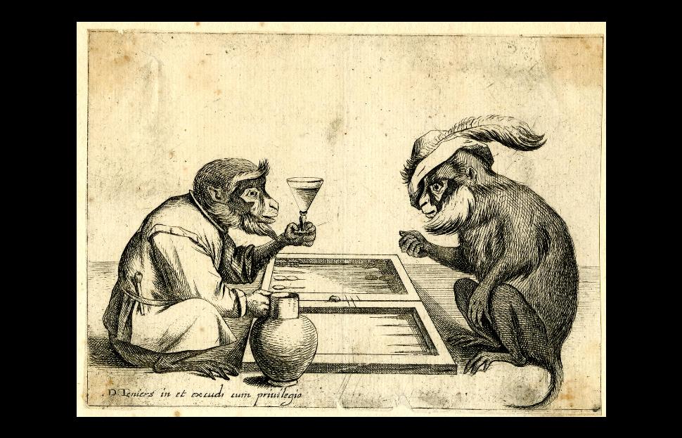 Macacos jogando gamão. Gamão? (Imagem: Domínio Público / The British Museum)