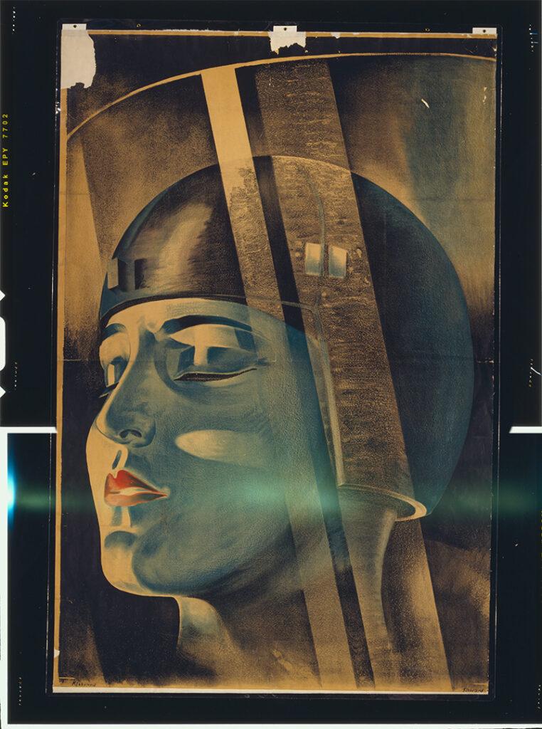 """Poster do filme de Fritz Lang """"Metrópolis"""" mostra Maria se transformando em máquina. """"Metro"""" se aglutina com """"androide"""" e forma Metroid. (Imagem: Domínio Público)"""