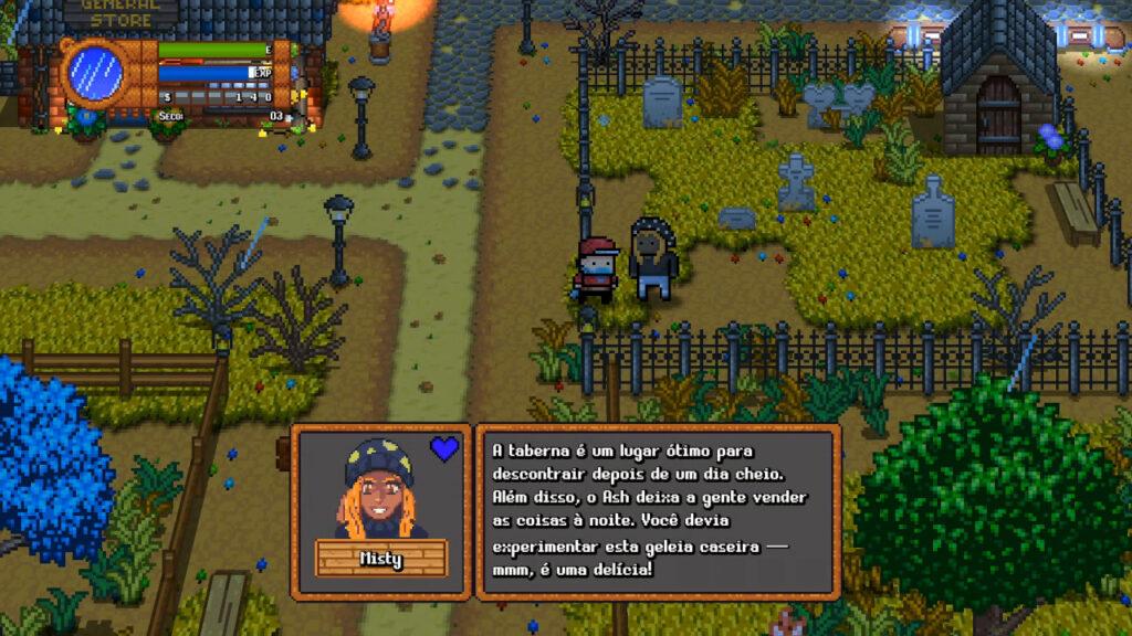 Monster Harvest está completamente traduzido ao português do Brasil. (Imagem: Reprodução/Nintendo Switch)