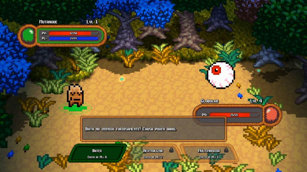O jogo se transforma em outro quando o assunto é fortalecer os planimais: as batalhas por turnos são uma quebra de ritmo das tarefas cotidianas. (Imagem: Reprodução/Nintendo Switch)