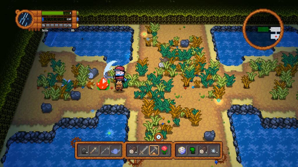 Nas masmorras aleatoriamente geradas, você também minera além de enfrentar inimigos. (Imagem: Reprodução/Nintendo Switch)