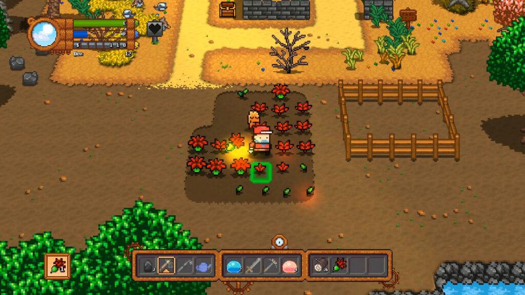A cada dia, regar, plantar e colher. Desta vez, colher planimais! (Imagem: Reprodução/Nintendo Switch)