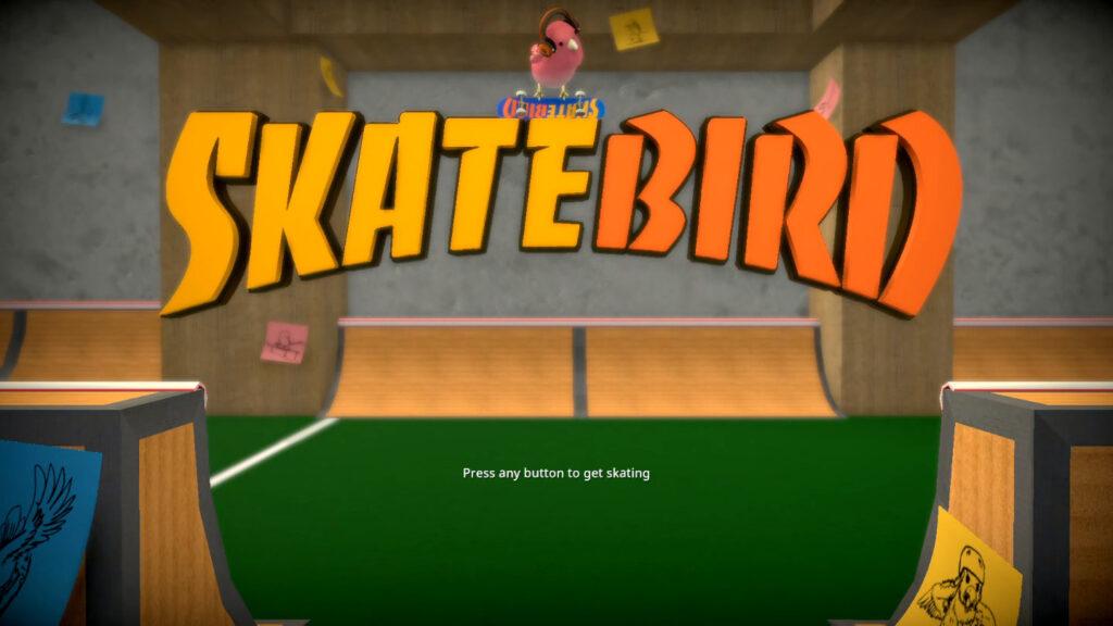 SkateBird - o título e a tela inicial dizem tudo. TUDO! (Imagem: Reprodução/Switch)